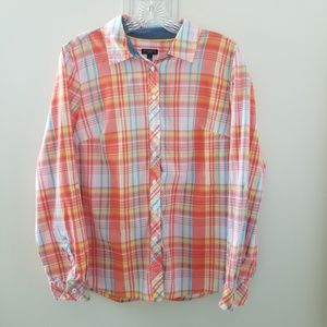 Talbots Petites Orange Pink Yellow Blue Plaid